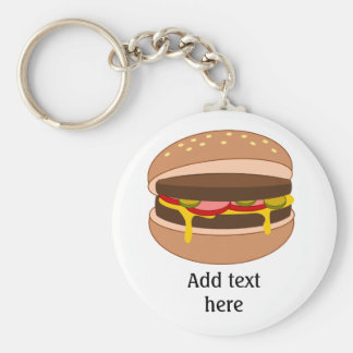 Customize this Hamburger graphic Basic Round Button Key Ring