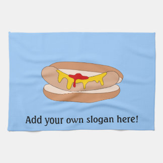 Customize this Hot Dog graphic Tea Towel