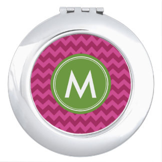 Customize Trendy Purple Chevron Monogram Mirror For Makeup