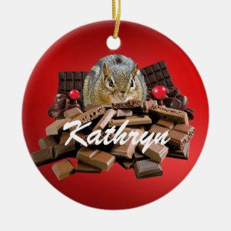 Customize Valentine's Day Chocolate Chipmunk Ceramic Ornament