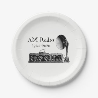 Customize Vintage AM Radio Receiver Paper Plate