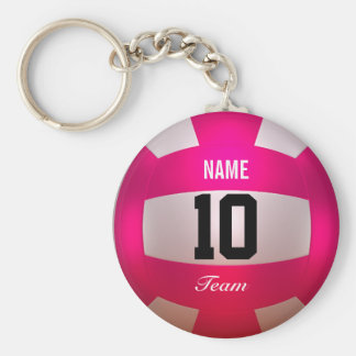 Customize Volleyball Bright Pink Key Ring