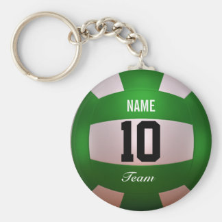Customize Volleyball Forest Green Basic Round Button Key Ring