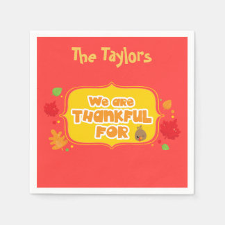 Customize We are Thankful For Red Thanksgiving Disposable Napkins