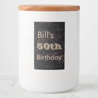 Customize your 50th birthday black and brown food label