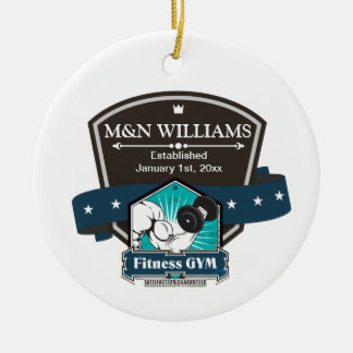 Customize Your Name Fitness Gym Logo Christmas Tree Ornaments