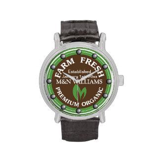Customize Your Name Organic Farm Logo Wristwatch