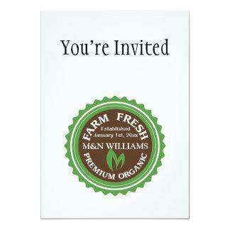 Customize Your Name Organic Farm Logo 5x7 Paper Invitation Card