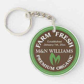 Customize Your Name Organic Farm Logo Double-Sided Round Acrylic Keychain