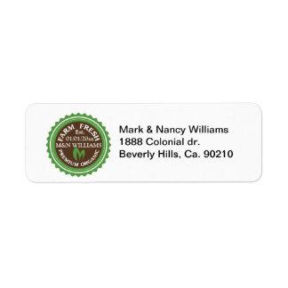 Customize Your Name Organic Farm Logo Return Address Label