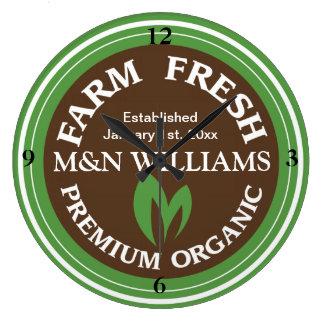 Customize Your Name Organic Farm Logo Large Clock