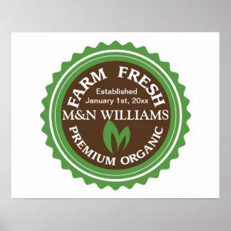 Customize Your Name Organic Farm Logo Poster