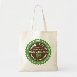 Customize Your Name Organic Farm Logo Tote Bags