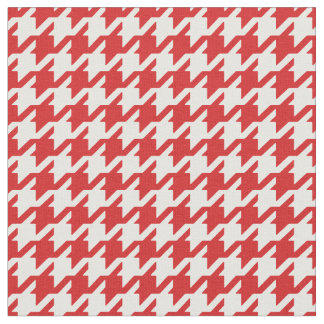 Customize your own red houndstooth pattern fabric