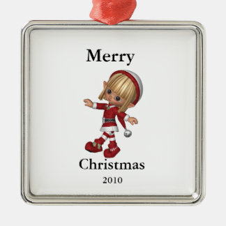 Customizeable Merry Christmas elf ornament 2010
