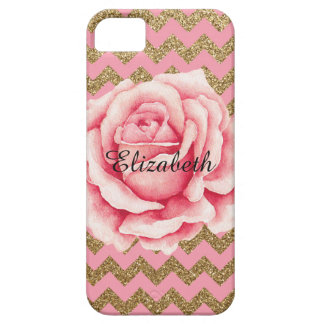 Customizeable Pink & Gold Rose Glitter iPhone 5 Case