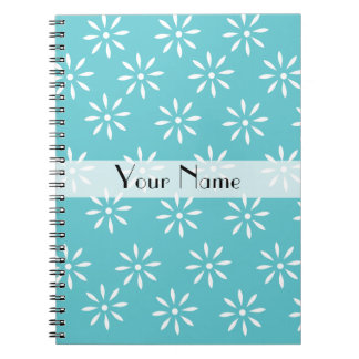 Customizeable Teal & White Flower Notebook