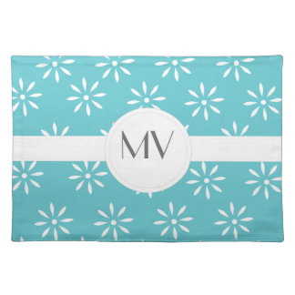 Customizeable Teal & White Flowers Place Mat