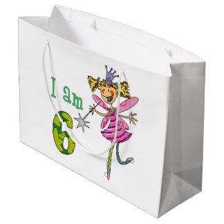 Customized 6th happy birthday princess fairy party large gift bag