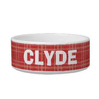 Customized Add a Name Red Plaid Pet Dish Cat Food Bowls