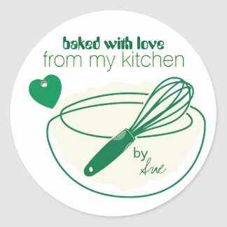 Customized Baked with Love Stickers