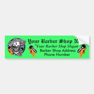 Customized Barber Shop Skull Bumper Sticker