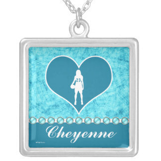 Customized Beautiful Turquoise Girl's Basketball Silver Plated Necklace