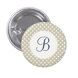 Customized Beige Neutral Polka Dots Retro Vintage 3 Cm Round Badge