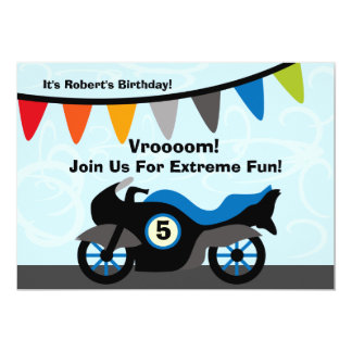 Customized Biker Motorcycle Birthday Invitations