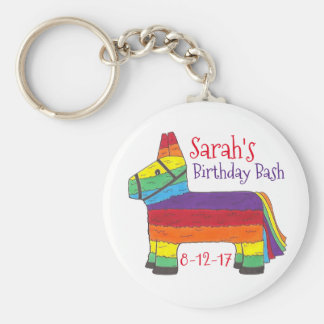Customized Birthday Party Favor Rainbow Piñata Basic Round Button Key Ring