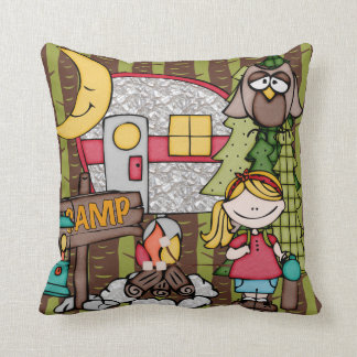 Customized Blond Haired Girl Camping Pillow