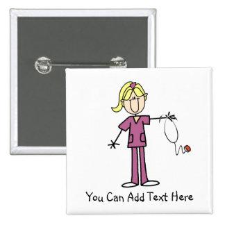 Customized Blond Stick Figure Nurse Button