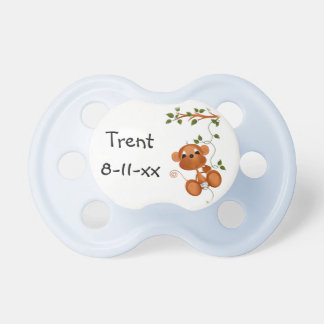 Customized Blue Monkey on Branch Baby Pacifier