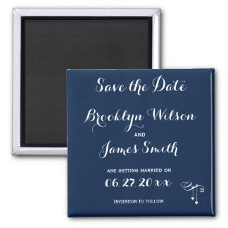 Customized Blue Wedding Save The Date Magnet