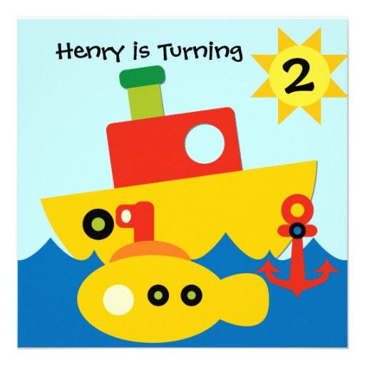 Customized Boats Birthday Invitation