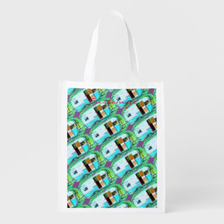 Customized caravan Vintage camper Reusable Grocery Bag
