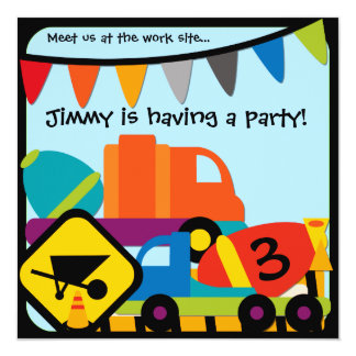 Customized Construction Cement Mixers Birthday Card
