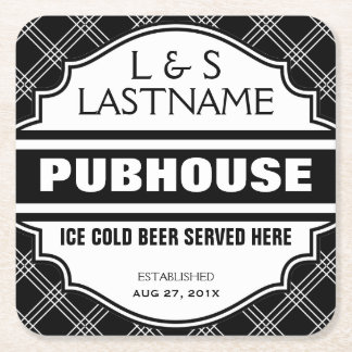 Customized Couple  Pubhouse Beer Here Square Paper Coaster