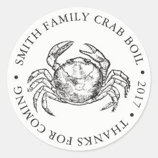 Customized Crab Bake Event White Classic Round Sticker