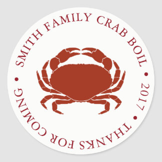 Customized Crab Boil Event White Classic Round Sticker