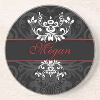 Customized Dark Elegance Beverage Coasters