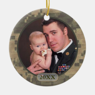 Customized Dated Military Photo Front and Back Ceramic Ornament