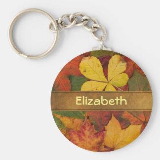 Customized Fall Foliage Leaves Key Ring