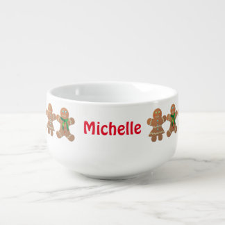 Customized Gingerbread Cookies Soup Bowl With Handle