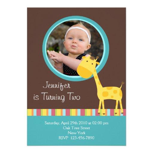Customized*Giraffe Invitation Card