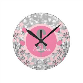 Customized Girls Name | Flowers Pink Gray Bokeh Wallclocks