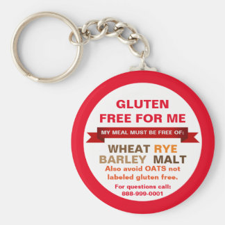 Customized Gluten Free Food Guide Medical Info Basic Round Button Key Ring