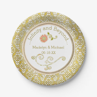 Customized Gold Damask Wedding Paper Plates 7 Inch Paper Plate