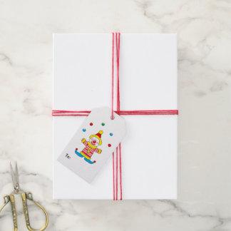 Customized happy birthday cute clown cartoon party gift tags