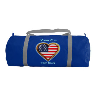 Customized Heart Shaped American Flag Gym Duffel Bag
